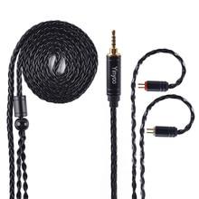 Ak yinyoo 8 núcleo atualizado prata chapeado cabo de cobre 3.5 2.5mm fone de ouvido cabo com mmcx 2pin para zstzs10as10zsx c12 v2 blon trn