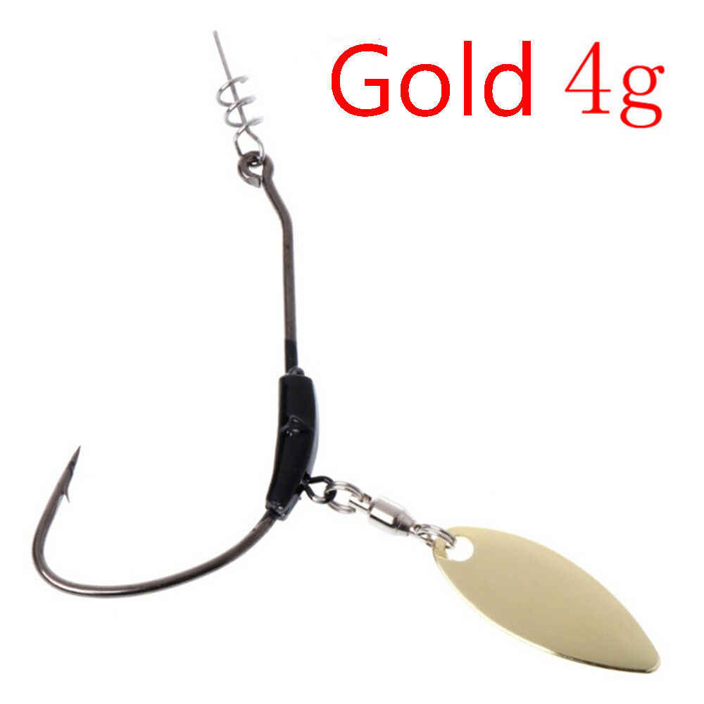 Head With Metal Sequins Add Lead Weight Baits Soft Crank Hook Fishing Worm J2C3