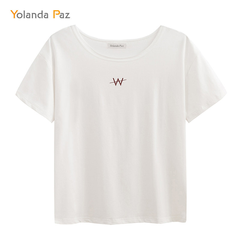 Yolanda Paz Summer Womens Funny Short Sleeve O neck Tops W Letter Print White Cotton high quality Casual Trendy T shirt