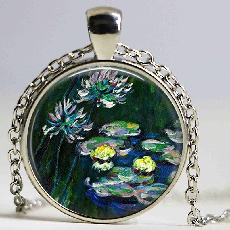 Клод Моне Водяные лилии ожерелье, водяной лилии картина Кулон, Моне Art кулон, украшения весна, моне ювелирных изделий, impressioni ...