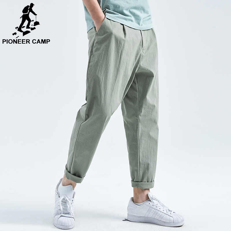 Pioneer Camp simple Casual Men Pants Cotton Slim Straight Trousers Fashion Loose Solid Black/light Green Pants Male AXX901032