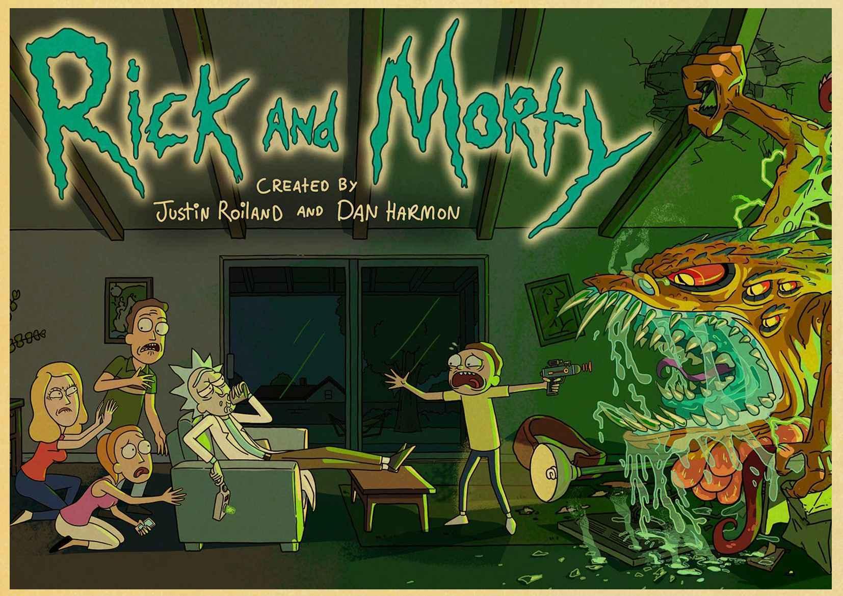 Мультфильм плакат Винтаж Плакат Рик и Морти печатает высокое качество настенные наклейки для гостиной украшения дома - Цвет: D074