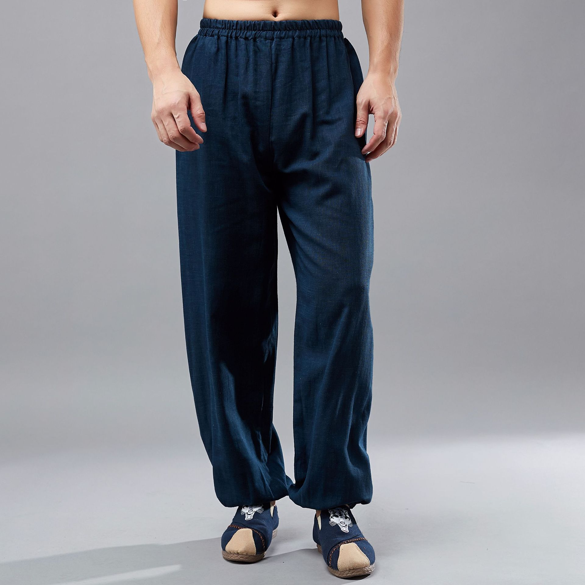 China Kongfu Pants Solid Color Long Trousers Joggers Plus Size Men Cotton Linen Elastic Waist Casual Pants