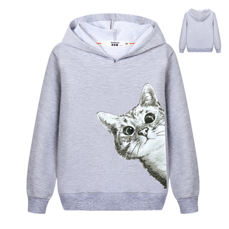 2018 Kawaii Cat Hoodies Kids Girls Cute Cartoon Looking Outside Cat Print Hooded Sweatshirt Loose Pullover Tracksuit for Boys 4