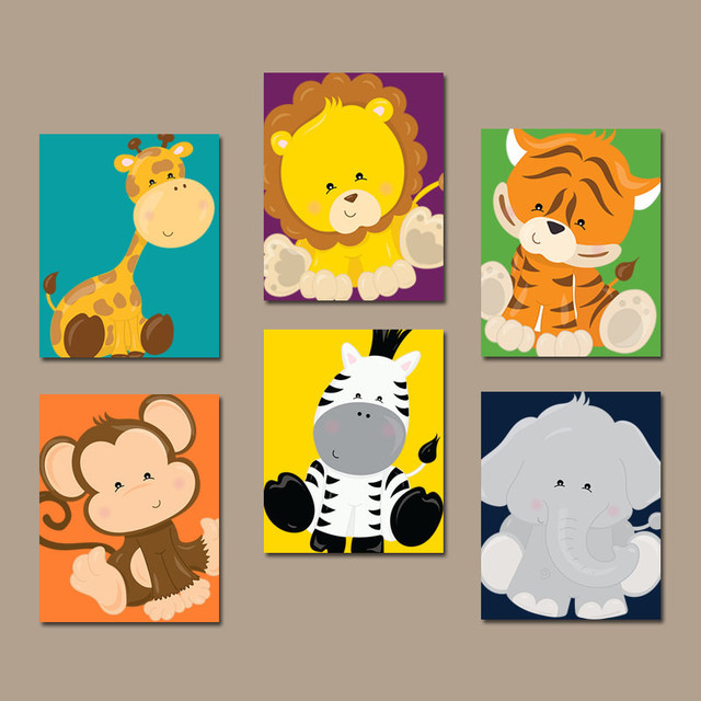 Cartoon Animals Hanging Picture Wall Art Canvas Print Poster ...