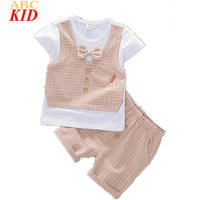 2017 Summer Baby Boy Clothing Set Plaid Waistcoat Design Shirt + Shorts Pants Cool Bow Tie Shirts Kids Clothes Suits KT092