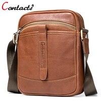CONTACT S Men S Genuine Leather Shoulder Bag For Men Crossbody Bags For Male Messenger Bag