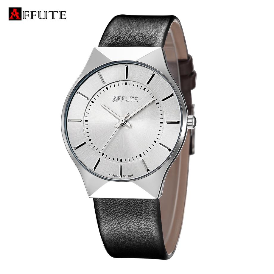 Prix pour AFFUTE Marque Nouvelle Mode De Luxe Élégante Montre Hommes Simple Ultra Mince cadran Casual Male Horloge À Quartz Homme Montre-Bracelet Cadeau D'affaires