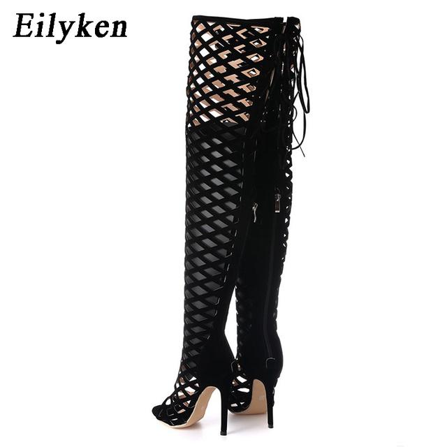 Eilyken Sexy Peep Toe Cut Out Gladiator Over The Knee High Heels Women Sandals Boots Women Night Club Openwork High Boots