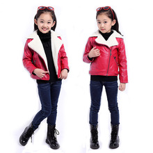 Girls winter coat 2016 kids red/black girls winter jacket fashion PU leather children winter jacket for teenage girls and boys