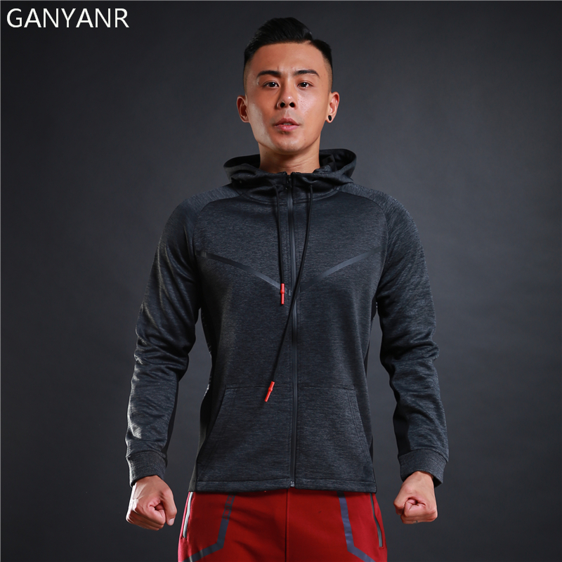 GANYANR Brand Running Jacket Men Fitness Sport Windbreaker Windproof Hoodie Sportswear Training Jogging Coat Gym Winter 2017