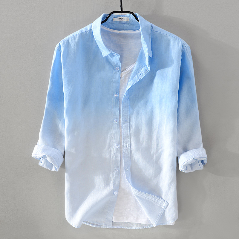 2018 New summer men's linen shirt men brand three quarter sleeve shirt mens gradient blue shirts male casual camisa dropshipping