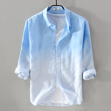 2018 summer linen shirt men three-quarter sleeve gradient blue shirts male