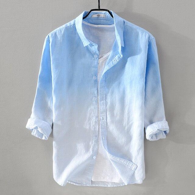 c7b75be083dc1 2018 Yeni yaz erkek keten gömlek erkekler marka üç çeyrek kollu gömlek erkek  gradient mavi gömlek