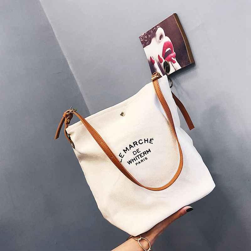 2020 kobiety torebki torby na ramię przyjazny dla środowiska przenośny wzór w napisy Student torby torba na zakupy