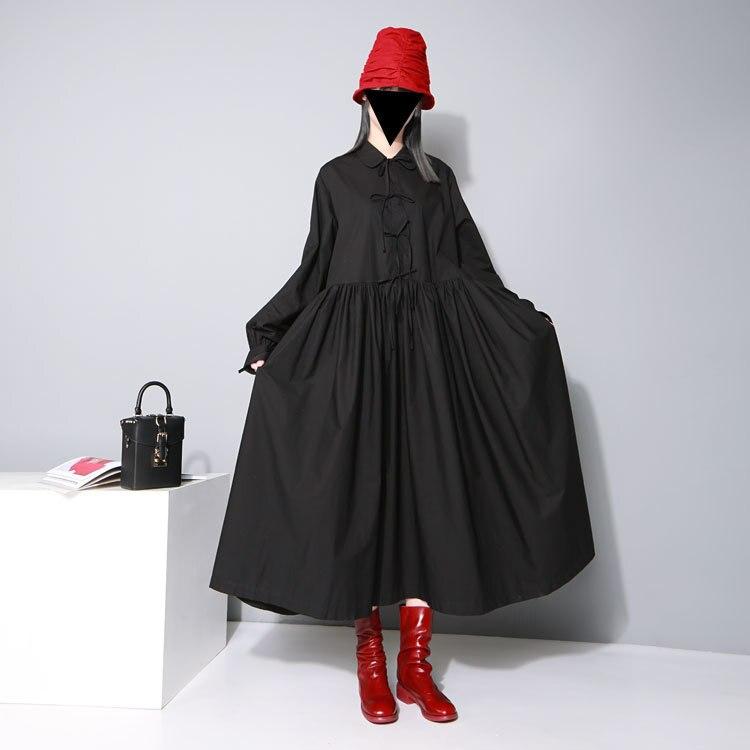 Vestidos Mujer Zanzea Dress Women Free Shipping 2019 New Doll Shirt Tie Big Pendant Long Dress Straight Full Cotton Ruffles