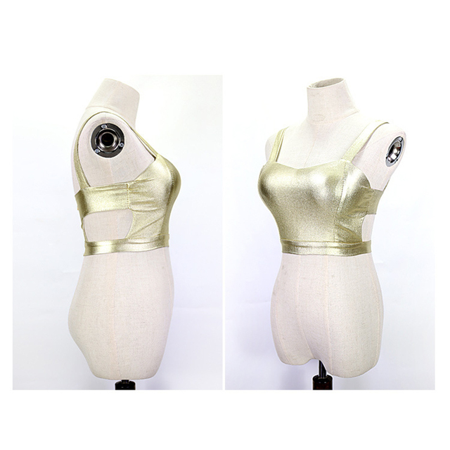 Sexy Women Short Bodycon PU Tank Short Hollow Out Tops Sexy Sleeveless Night Club Tanks Silver Black Gold