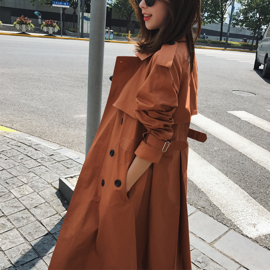 2018 New Women Candy Sugar Adjustable Waist Autumn Spring X-long Trench Coat Windbreaker Womens Khaki Coat Plus Size S-3XL
