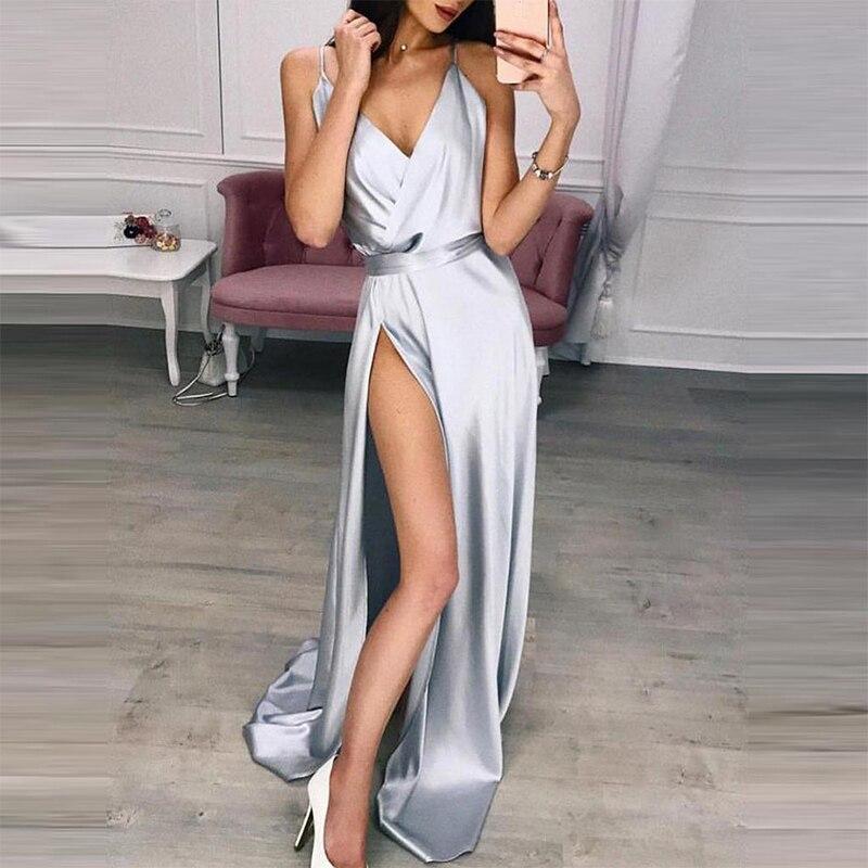 Solid Sexy Strap V-Neck Split Floor-Length Dresses Women Summer Mid-Rise Sleeveless Silk Elegant Lady Party Dress Vintage Casual
