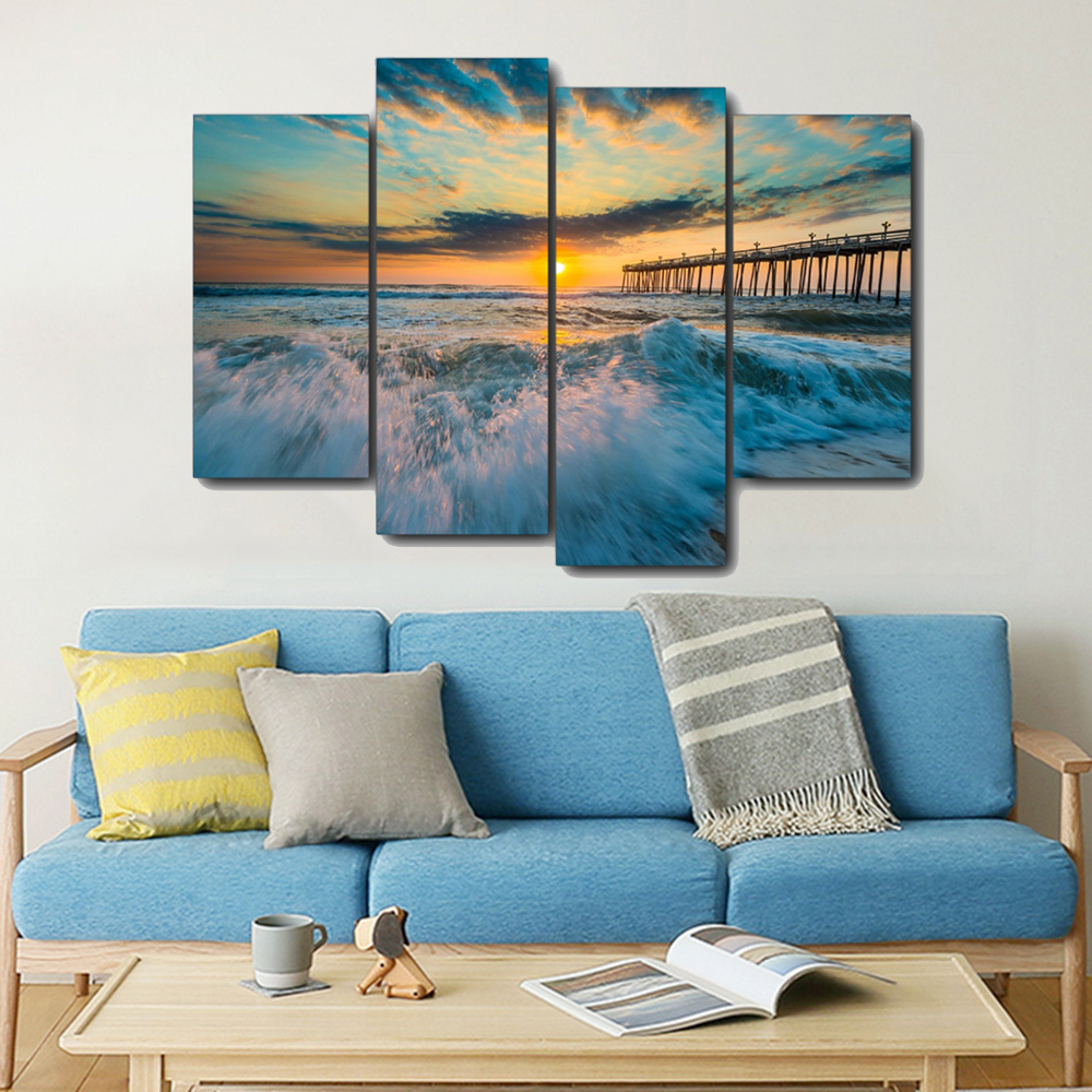 Seascape Bridge Sunset Canvas Painting Calligraphy Prints Home Decoration Wall Art Poster Pictures for Living Room Bedroom in Painting Calligraphy from Home Garden