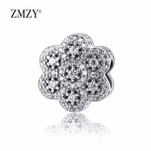 Zmzy auténticos 925 plata esterlina encanta cristalizada floral claro cz adapta pandora pulsera del encanto de la joyería