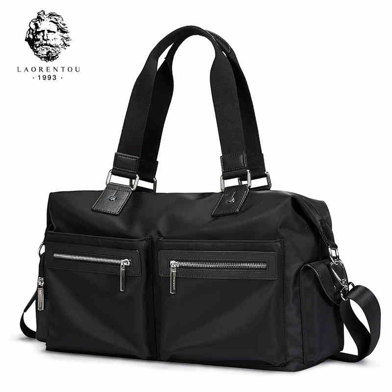 Laorentou Fashion Men Handbag Versatile Oxford Totes Work Shoulder Bags High Capacity Crossbody Bag