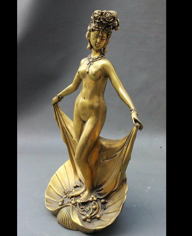 "zhmui8800627021+<<+10"" Chinese Brass Classic Beautiful Woman <font><b>Nude</b></font> Belle <font><b>Goddess</b></font> In Clamshell Statue"