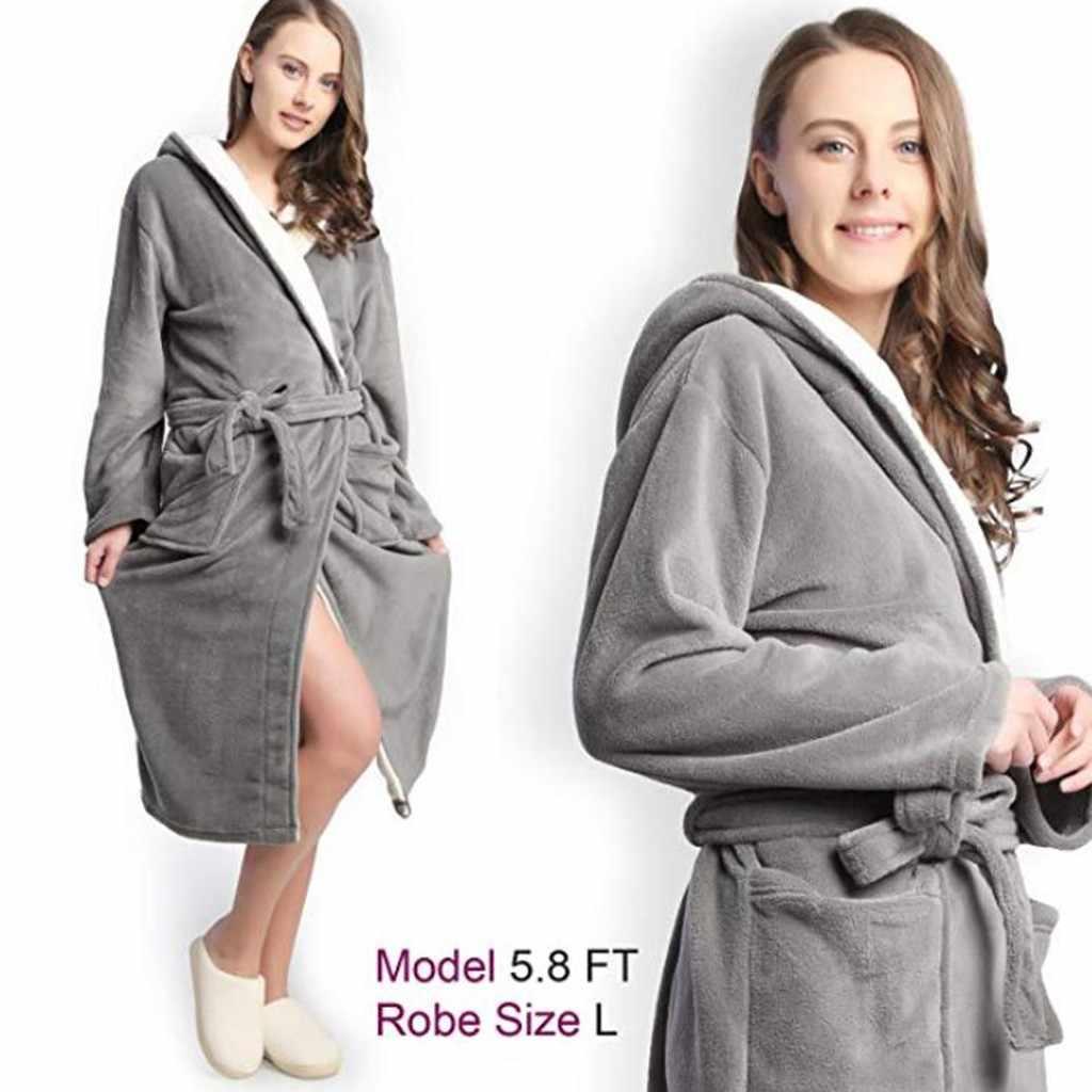 YOUYEDIAN new fashion Winter Bathrobe for woman Hoodie Women Soft Spa Full  Length Warm Light Cashmere 1e9a14cbf