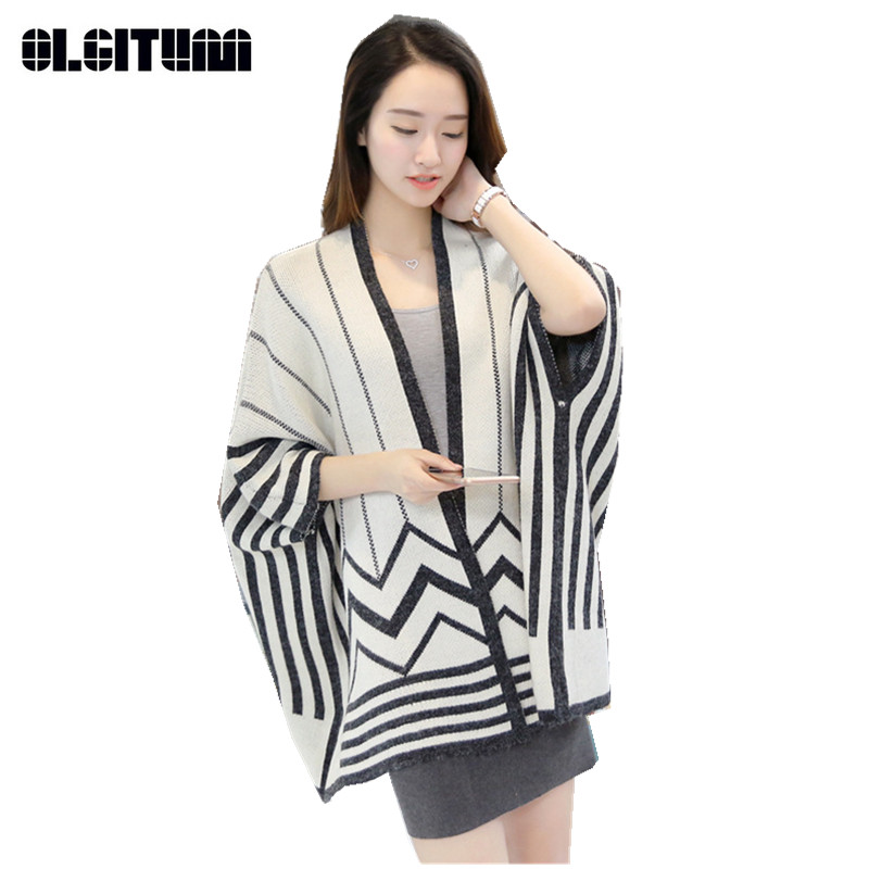 2018 New Hot Autumn Women loose bat sleeve striped knit shawl cardigan sweater long sect ...