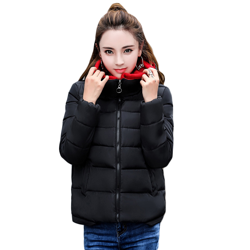 2017 New Women Winter Short Slim Cotton Parkas Girls Elegant Cotton-padded Hooded Jacket Female Thick Warm Coats Outwear CM1820 winter jacket women 2017 new female 5 color slim cotton padded jackets fashion short hooded zipper parkas coats a1013b 16601