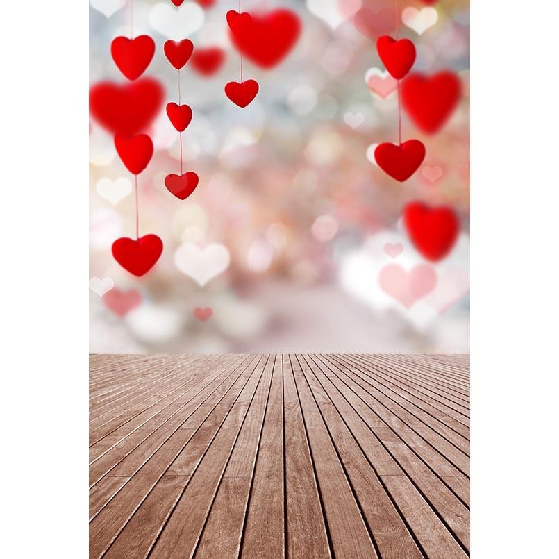 Valentine's Day Wooden Floor Decor Lights Photography