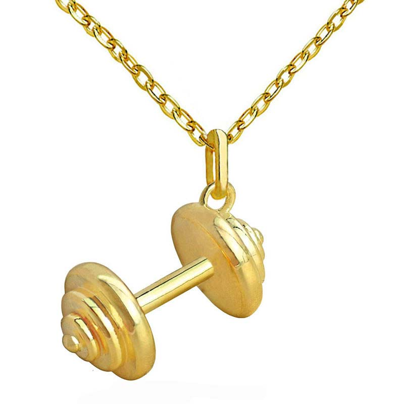 Barbell Pendant Necklaces for Women Punk Jewelry Copper Made Fashion Cloth Accessories Champagne Gold-color New Arrivals