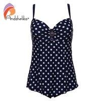 Andzhelika Plus Size Swimwear One Piece Dress Swimsuit Women 2017 Sexy Dot Black Bodysuit Bathing Suit