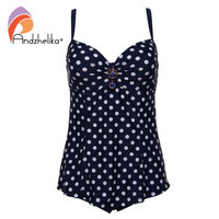 Andzhelika Plus Size Swimwear One Piece Dress Swimsuit Women 2017 Sexy Dot Black Bodysuit Bathing Suit