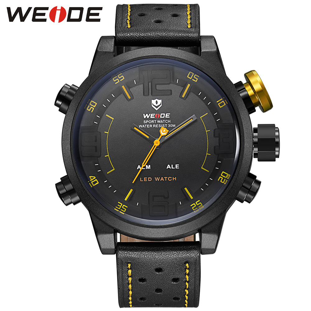 WEIDE Men Watches Full Stainless Steel Buckle 3ATM Waterproof Date Day Hour Leather Strap Japan Quartz Clock LED Digital Watch цена и фото