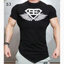 SJ Summer Bodybuilding and Fitness Mens Irregular hem Short Sleeve T-shirt Shirt