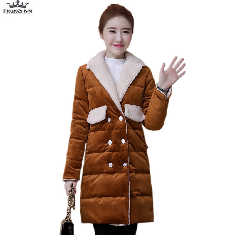 tnlnzhyn 2017 New Winter Coat Women Double breasted Down Cotton Jacket Slim Turn Down Collar Down Jacket Fashion Warm Coats Y729 europe 2015 new women winter coat slim turn down collar long double breasted leather match cotton jacket coat w20