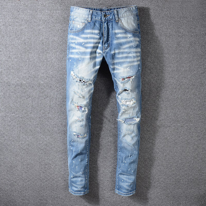 Autumn And Winter New Blue Male Fashion Large Size Skinny Jeans Men Clothes Hip Hop Ropa De Hombre 2018 Denim Streetwear