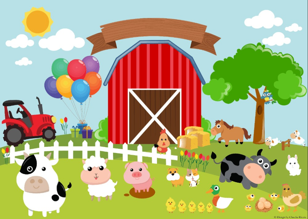 7x5ft Red Barn Barnyard Tractor Balloons Animals Fence