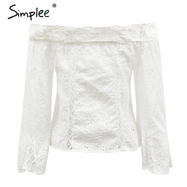 Simplee Off shoulder white lace blouse shirt women Flare sleeve hollow out tassels women tops Summer beach casual blusas femme