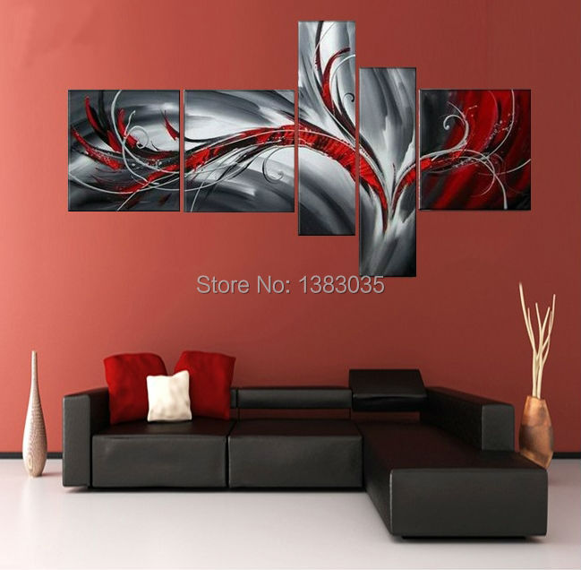 Hand painted modern abstract oil painting on canvas picture 5 pieces black white and red wall art home decoration sets in painting calligraphy from home