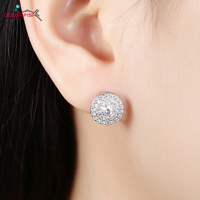 COLORFISH Authentic 925 Sterling Silver Stud Earring Fine Zircon Full  Double Halo With Big Stone Center Luxury Women's Earrings