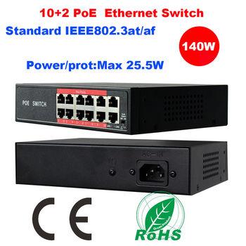 IEEE802.3at/Af 10 + 2 Poorten 48V 140W Poe Ethernet Switch 6 8 Ch Voor Ip Camera nvr
