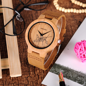 Image 4 - בובו ציפור עץ שעונים גברים כמו בחיים מיוחד עיצוב UV הדפסת חיוג פנים במבוק relogio masculino מתנות שעונים C P20