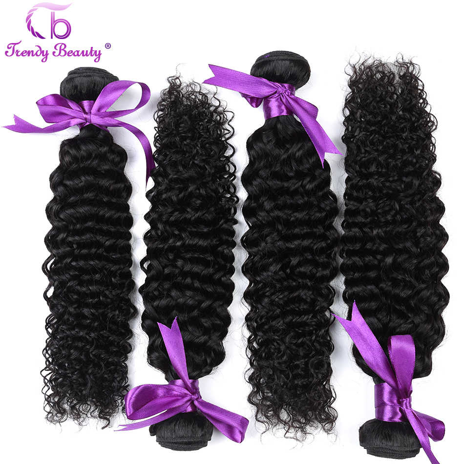 Trendy Beauty Brazilian kinky curly hair 4 bundles per lot natural black color can be dyed free shipping human hair weave bundle