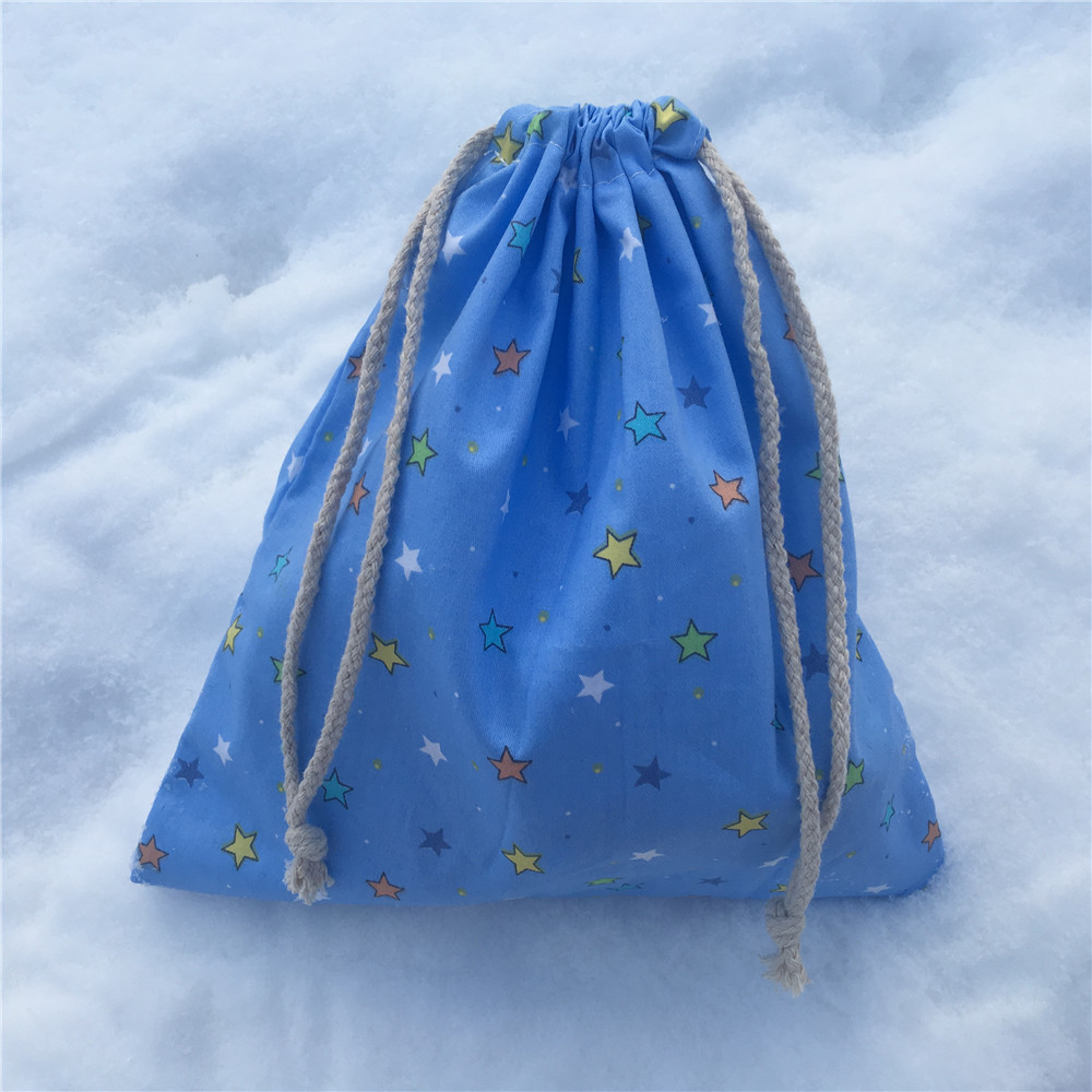 YILE 1pc Cotton Drawstring Pouch Coin Phone Bag Party Favor Multi-purpose Bag Stars Blue 8129a