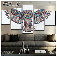 FULLCANG Flying Colorful Eagle Diy Full Square Diamond Embroidery 5PCS Painting Cross Stitch Animal Mosaic Kits G600
