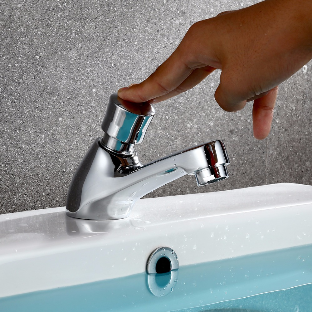 US $23 65 30% OFF|Free Shipping Brass Time Delay Faucet Touch Press Auto  Self Closing cold Water Saving Tap for Public Toilet Metered Faucet  XT511-in