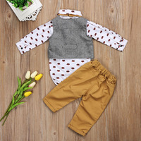 Newborn Baby Boys Gentleman Formal Suit Long Sleeve Cartoon Fox Bodysuit Waistcoat Pants Casual 3pcs Set Outfits Clothes