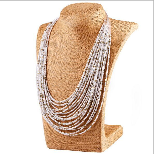 Bohemian hand-woven beaded statement necklace vintage exaggerated necklace Multi-layer rice beads female elegant necklace
